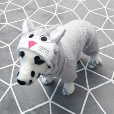 [펫딘]래빗 후드 똑딱이 강아지옷 올인원 그레이