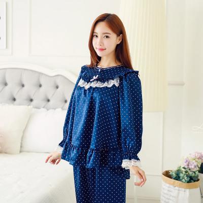 [쿠비카]앞 레이스 도트무늬 라운드 투피스 잠옷 W051