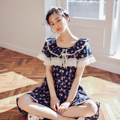 [쿠비카]프릴 순면 투피스 반소매 여성잠옷 W439