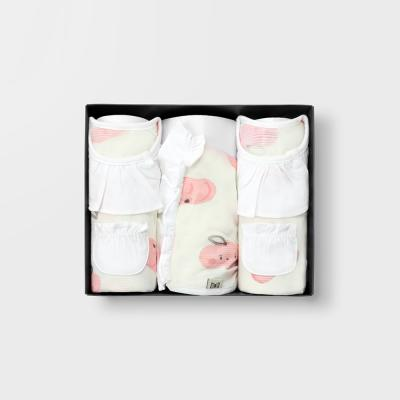 [메르베]납작복숭아 7부백일선물세트(내의+슈트+모자)