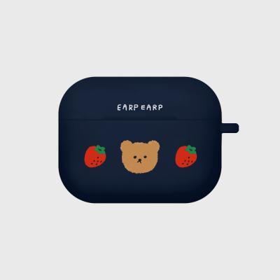 Dot strawberry bear-navy(Air pods pro case)