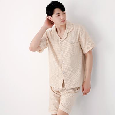 테라우드 남성용 미니체크 원포켓 반팔 잠옷 상하세트