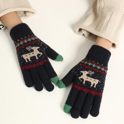 겨울사슴 터치장갑(네이비)