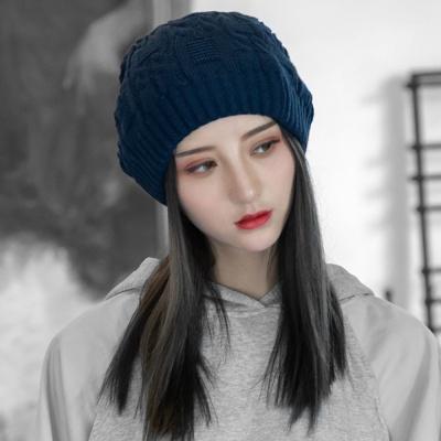 루즈핏 겨울 롱 비니(네이비) 여자 니트 털모자