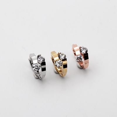 [애슬릿]전체 실버 큐빅 원터치 미니 링 귀걸이