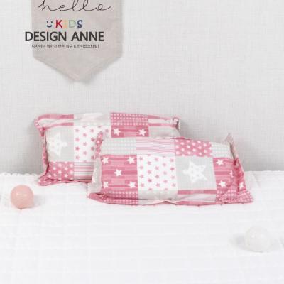 [디자인엔] 순면 스타 키즈메모리폼베개-핑크