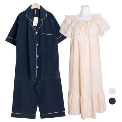 [쿠비카]라운드 네크라인 원피스 커플잠옷 WM327