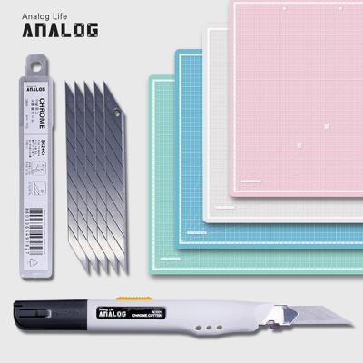 아날로그 셀프힐링 반투명 커팅매트 A3+크롬커터+리필칼날