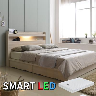 스마트 LED 서랍 침대 퀸(라텍스독립매트) KC171Q