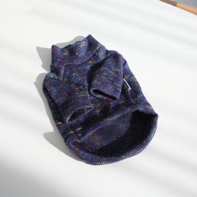 강아지옷 겨울옷 레인보우 하이넥 스웨터(네이비)