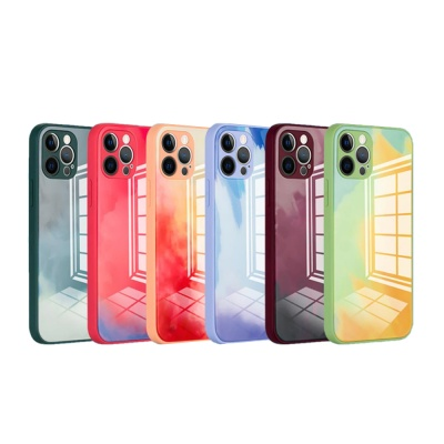 아이폰12 미니 11 pro max 수채화 강화유리 폰 케이스