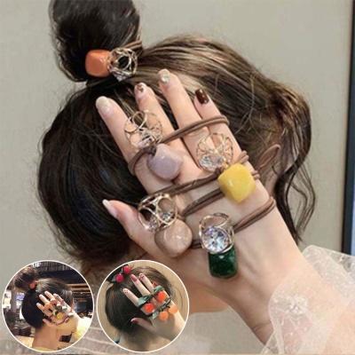 예쁜 컬러 포인트 장식 머리끈 헤어끈 똥머리 고무줄