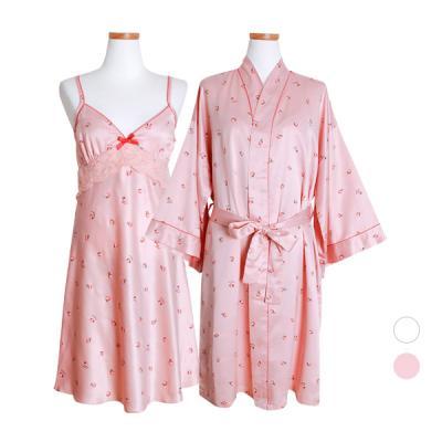 [쿠비카]피치 프린팅 레드라인 앙상블 여성잠옷 W371