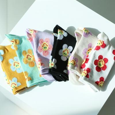 예쁜 스마일 꽃 패션 양말 6color 플라워 포인트 삭스