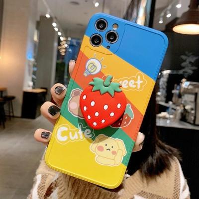 아이폰8 8+ se2 7 7+/플라워 딸기 그립톡 범퍼 케이스