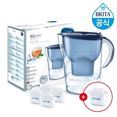 필터형 정수기 브리타 마렐라XL 3.5L 블루+필터4+1개월분(기본구성 필터포함)