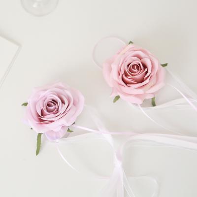 브라이덜샤워 꽃팔찌-로즈(라일락앤머브)