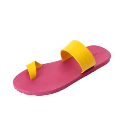 summer 핑크 옐로우 배색 쪼리 슬리퍼 조리 슬리퍼