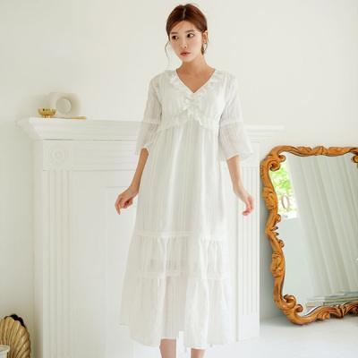 [쿠비카]레이스 7부소매 도비면 롱 원피스 잠옷 W568