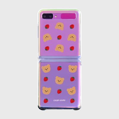 Dot strawberry bear(Z플립-투명하드)