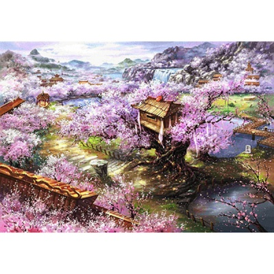 1000조각 목재 직소퍼즐▶ 벚꽃이 만개한 마을 [WPK1000-14]