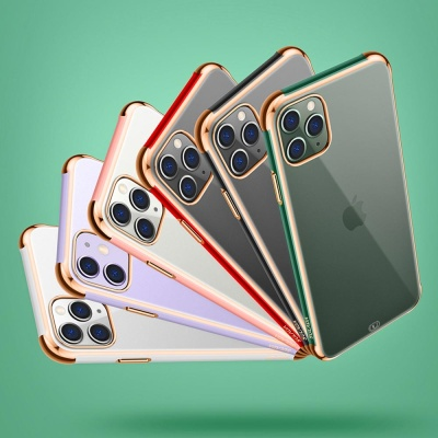 아이폰11 프로 맥스 컬러 골드 라인 투명 하드 케이스