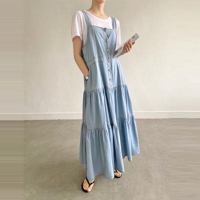 Denim Cancan Overalls Long Dress