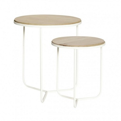 [Hubsch]Table, round, oak/iron, nature/white, s/2 889051 테이블