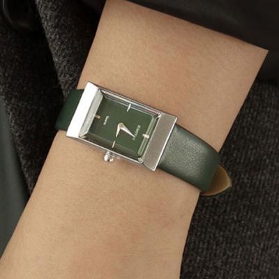 여성 빈티지 가죽 손목 시계 바우스 그리드 그린 실버