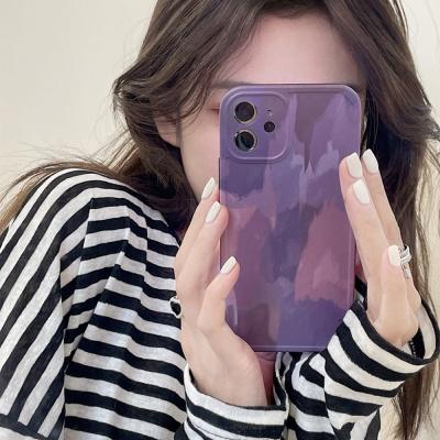 아이폰12 11pro max xs 8 감성 퍼플 유화 젤리 케이스