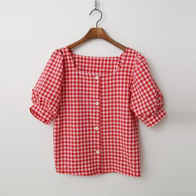 Puff Check Button Blouse