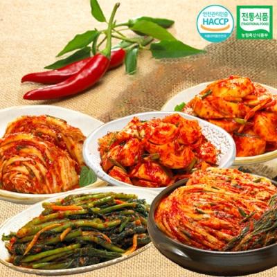 포기김치+석박지+갓김치+양파김치+맛김치x각1kg