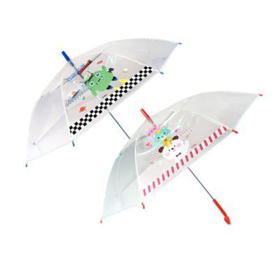 투명 아동 1단 장우산 (블루 레드)