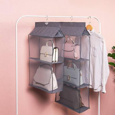 메쉬 핸드백 가방 걸이 보관함 정리함 수납장 (3단)