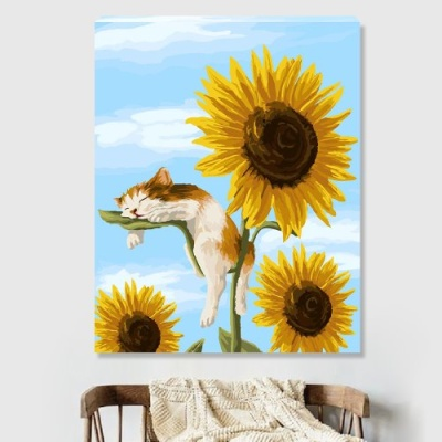 DIY 명화그리기 [ 해바라기와 고양이 ] - 40cm*50cm