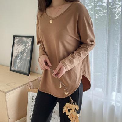 [애슬릿]국내 생산 면 라운드 넥 여성 긴팔 티셔츠