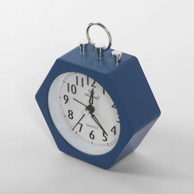 퀴리 육각 알람 탁상시계(블루)