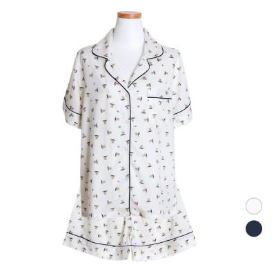 [쿠비카]레이온 투피스 반소매 카라넥 여성잠옷 W429