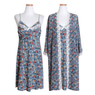 [쿠비카]쉬폰 레이스 앙상블 여성잠옷 W427