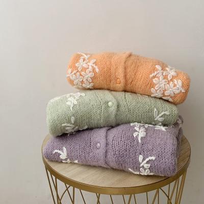 Mohair Wool Flower Cardigan