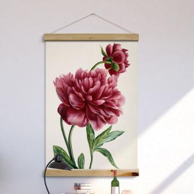 tc986-우드스크롤_60CmX90Cm-부귀의모란꽃그림