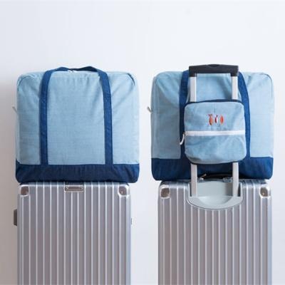 데님 보스턴가방 캐리어 보조가방 폴딩백 결합가방