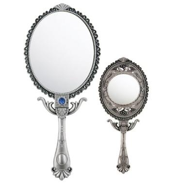 엔틱 타원형 손잡이 거울 소형 공주 손거울 접이식