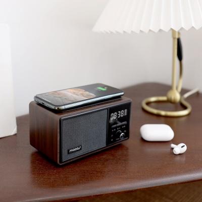 [무아스] 레트로 라디오 스피커 무선충전 탁상시계