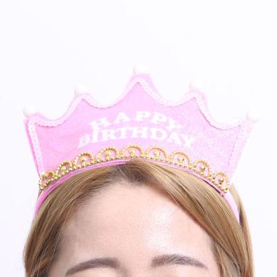 LED 반짝이 생일 왕관 (핑크)