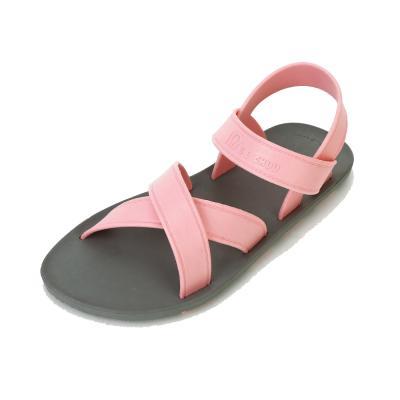 summer 그레이 핑크 배색 크로스 샌들 여름샌들 편한