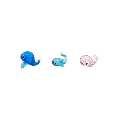 유리 미니어쳐 고래 가족 3종
