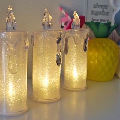 투명 글리터 LED 캔들 양초