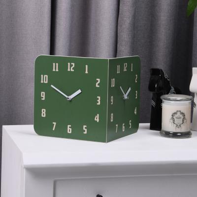 [하이모리] 타임데코 모던레트로 라운드 코너 양면시계 그린 [월클락/벽시계/인테리어소품/핸드메이드]
