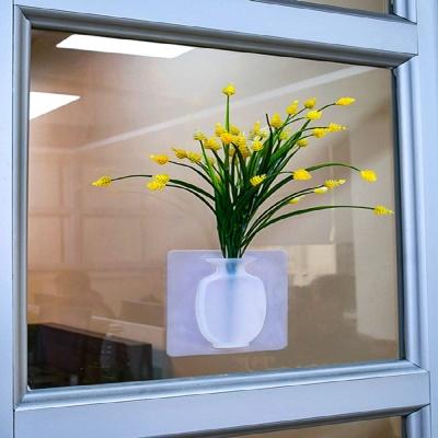 2초장착 붙이는 실리콘 꽃병 욕실 창문 인테리어 데코